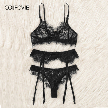 COLROVIE Intimates Black Eyelash Lace Garter Transparent Lingerie Set 1