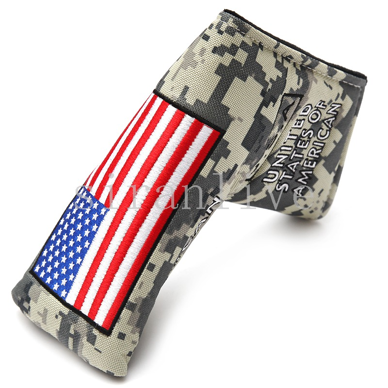 USA Flag Golf Putter Headcover Camouflage Nylon Putters Head Covers With Magnetic Closure For Man Women