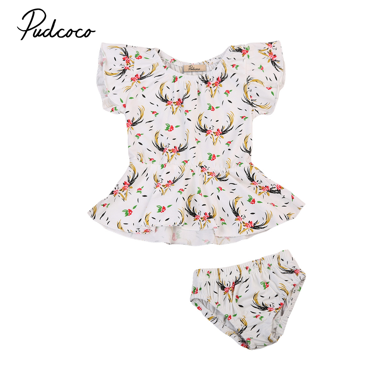 Pudcoco Newborn Baby Girls Deer Outfit Set Clothes Toddlers Cotton Sleeveles Cute Romper Jumpsuit+ Pants Shorts fashion 2pcs set newborn baby girls jumpsuit toddler girls flower pattern outfit clothes romper bodysuit pants