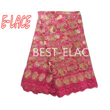 New design african lace fabric 2017 royal blue/orange/green/wine color french tulle lace fabric for wedding dress o510