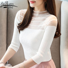 Blusas mujer de moda 2019 womens tops and blouses white blouse shirt ladies tops knitted blouse shirts slim shirts 4437 50(China)