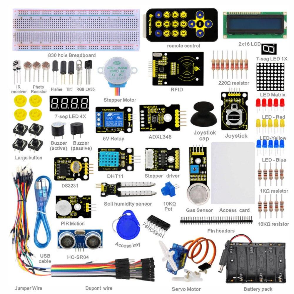 Новая упаковка! Keyestudio супер стартер обучения комплект (без MCU доска) для программирования Arduino Образование + PDF