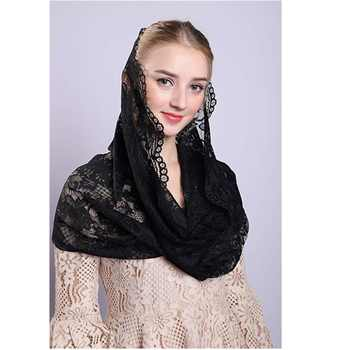 New Black White Lace Veils Mantillas for Church Headcovering HeadWrap Catholic Latin Mass mantilla negras Voile Mantillas 2019 - DISCOUNT ITEM  0% OFF All Category