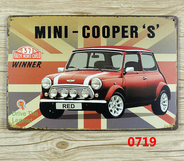 Mini Cooper S The Under Car 47 Champion Vintage Metal Signs Wall Stickers Art Decoration Iron Painting Plaque