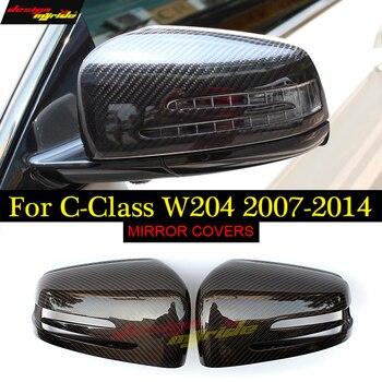 Direct Replacement 2pcs Carbon Fiber Side Rearview Mirror Cap Cover For Mercedes C-Class W204 C204 S204 C180 C200 C250 2007-2014