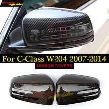 For Mercedes W204 Mirror Cover Carbon caps for Benz C-Class  C180 C200 C250 C300 C350 Fiber 07-14
