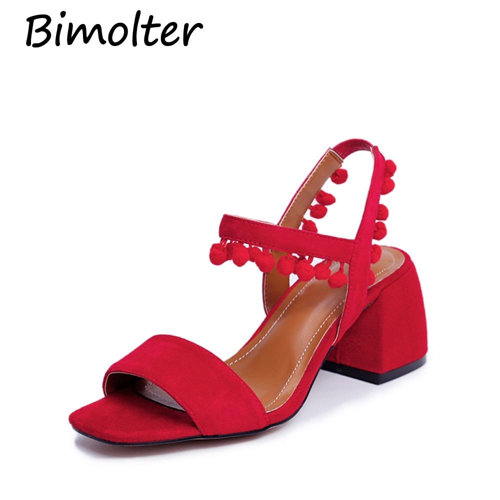 Bimolter Fringe Styles 샌들 패션 광장 발 뒤꿈치 발목 - 여성 신발