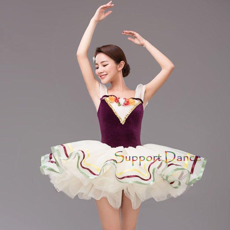 6 slāņi tilla ziedu profesionālā baleta tutu kleita mazuļu bērniem meitenēm pieaugušo sievietēm tumši violeta romantiska deju tērps C1