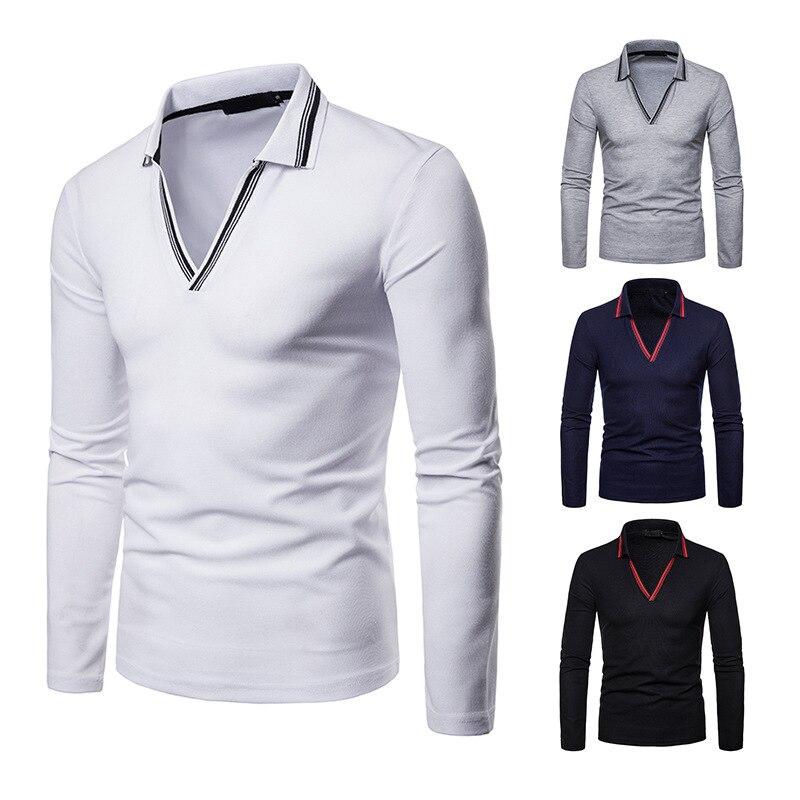 New Men Clothes 2019 Autumn Long Sleeve   Polo   Shirts Men V-neck Turn-down Collar   Polo   Shirt Men Winter Solid Casual Mens Clothing