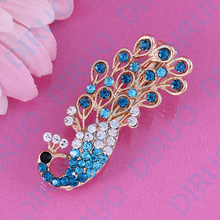 New Arrivals Hot Fashion Women Girl Cute Colorful Shinning Crystal Rhinestones Peacock Hairpin Hair Clip Jewelry free shipping