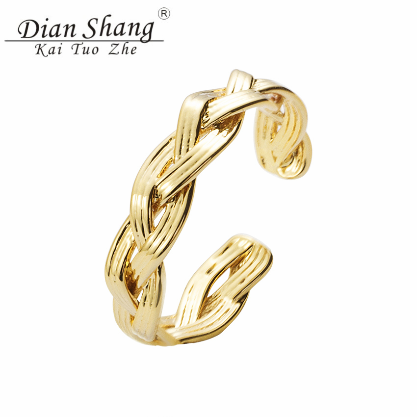 DIANSHANGKAITUOZHE Boho Classic Beauty Braided Rope Resizable Rings Women Engagement Jewelry Copper Rose Gold Retro Anillos