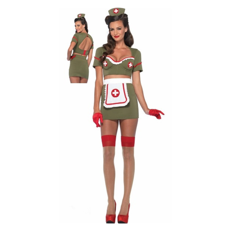 Olive green Naughty <font><b>Sexy</b></font> Nurse Costumes <font><b>Halloween</b></font> Cosplay Nurse Uniforms Erotic Costumes Role Play Women Erotic <font><b>Lingerie</b></font> M40347 image