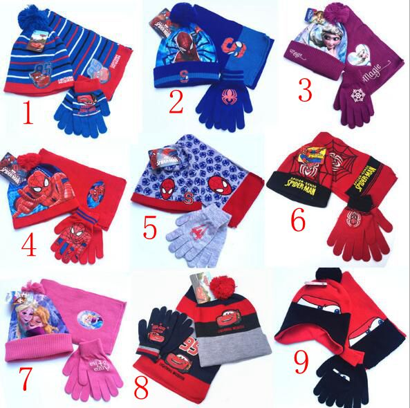 1 Set Cartoon Knitted Crochet Hat + Scarf + Gloves Children Hat Set Christmas New Year Gift SM863