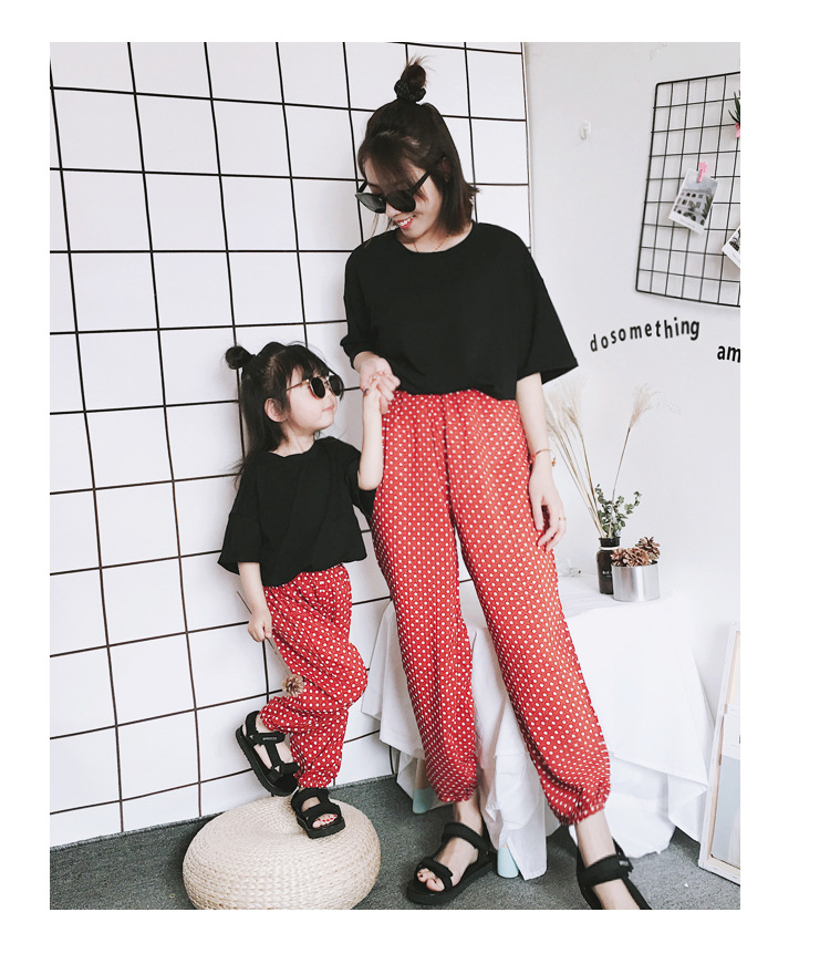 Mother Daughter Clothes 2018 New Summer Baby Girl Lantern Pants Family Look Kids Dot Printed Casual Trousers Pant Mosquito Pants 7
