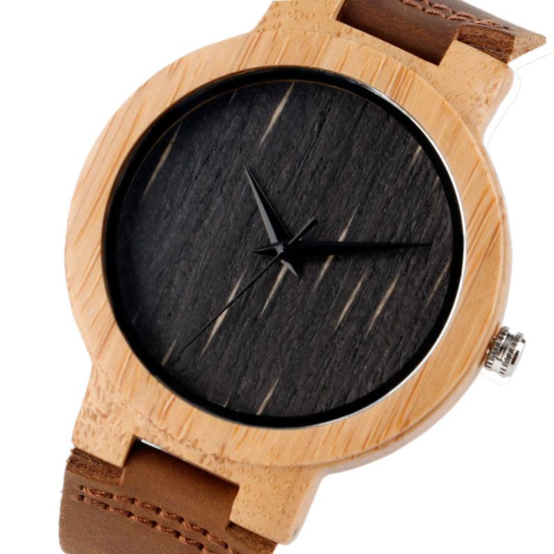 Bamboo loominguline puidust kella nahast bänd rihma kaasaegne kvarts - Meeste käekellad - Foto 2