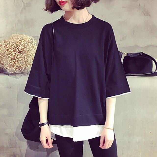 1964eff699d 2018 summer Autumn woman korean round neck style bts t shirt women off  white short sleeves befree loose female t shirts
