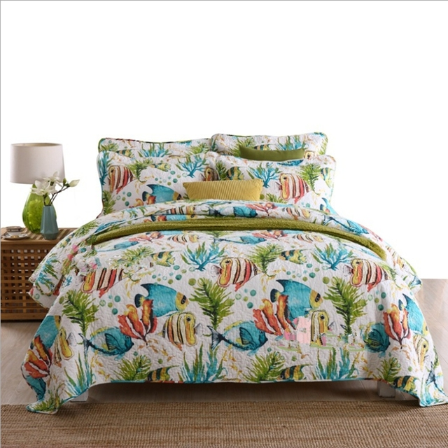 Fish Bed Cover Pillow Cases Queen/King Size Ocean Quilt Comforter Coverlet 100% Cotton Bedspread Set Thick Bed Sheet 3pcs