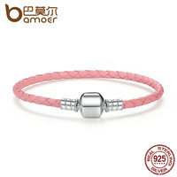 BAMOER Original 925 Sterling Silver Wholesale 4 Color Genuine Leather Snake Chain Bracelets For Women Fine