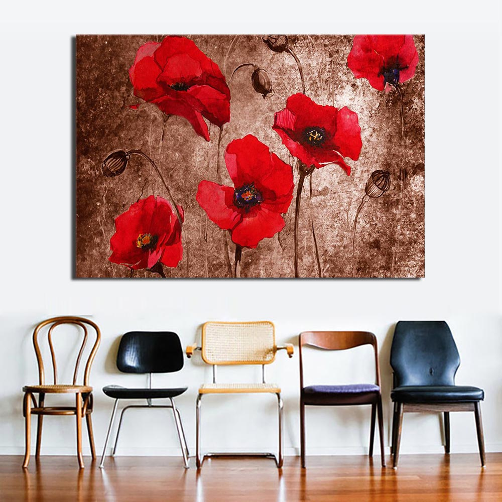 Huge Red Flower Painting Print On Canvas Abstract Poppy Flower