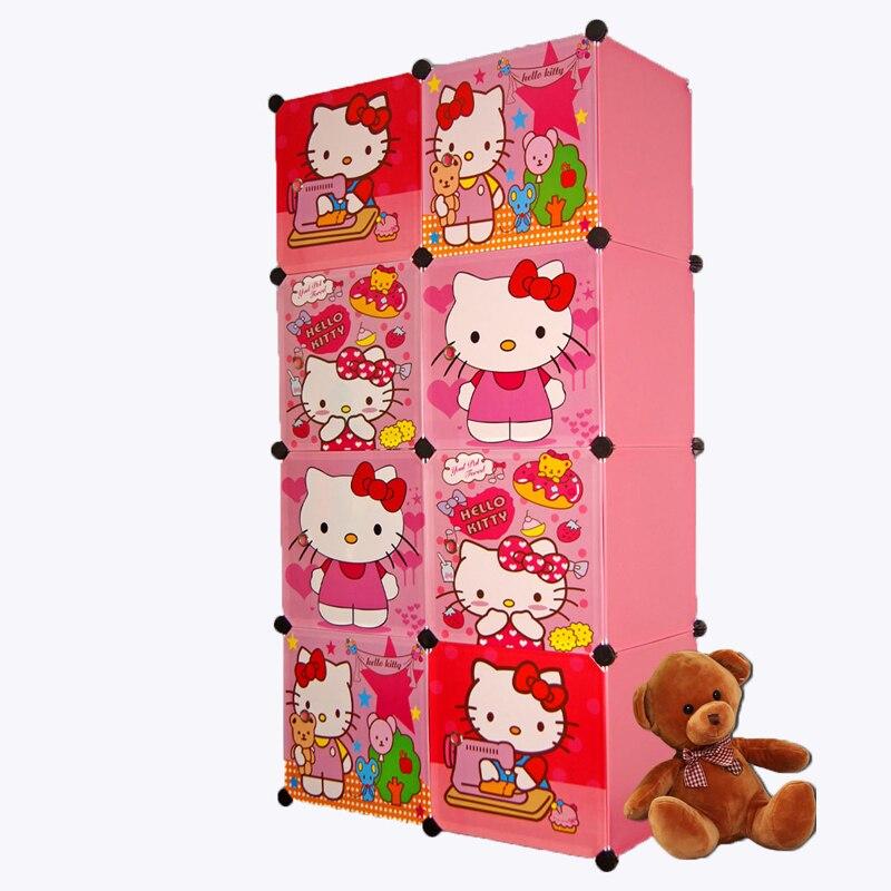 8 cubes cartoon wardrobe closet storage cabinet clothing armoire kids closet organizer storage organizers