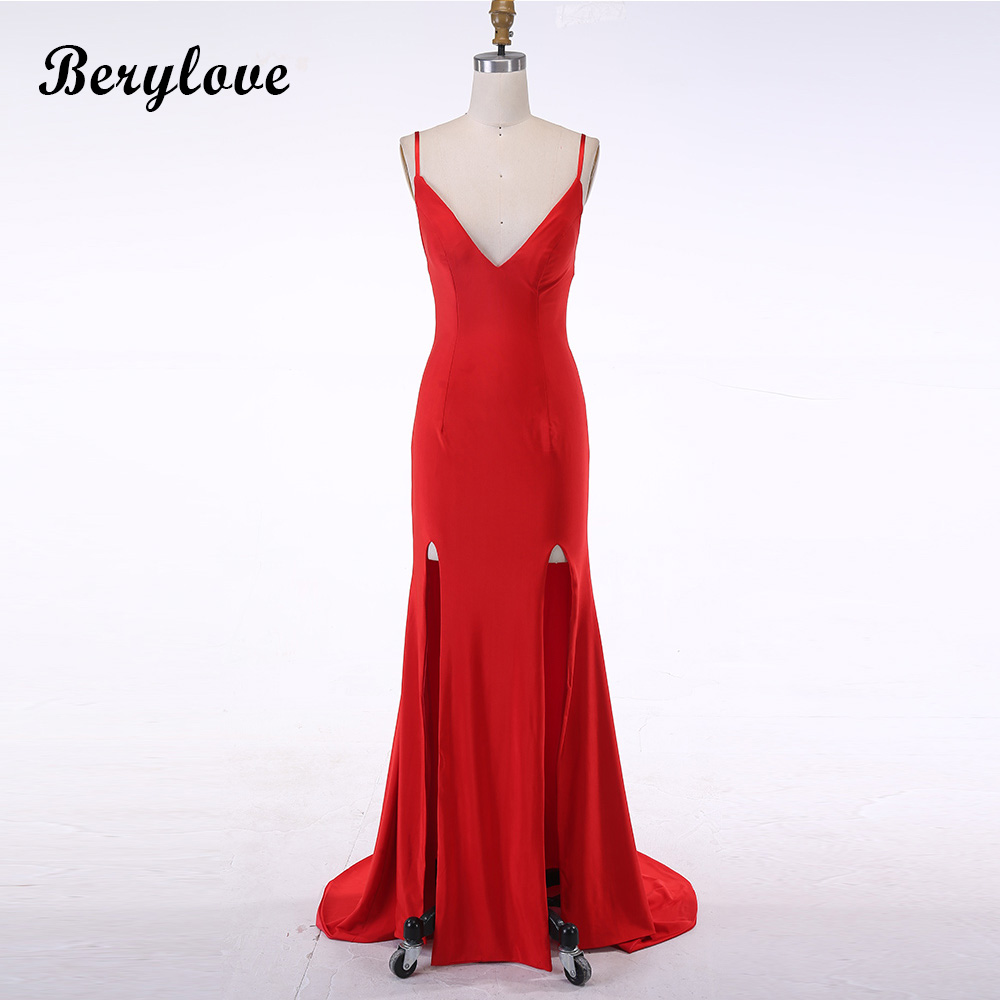 BeryLove Sexy Red Mermaid Evening Dresses 2018 Spaghetti Straps Evening Gowns Slits Prom Dresses Plus Size Formal Party Dresses