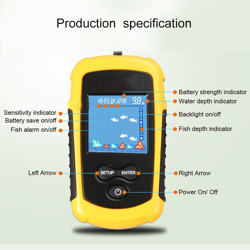 Image 4 - New Arrival Wired 100M Portable Sonar LCD Fish Finders Fishing lure Echo Sounder Fishing Finder-in Fish Finders from Sports & Entertainment