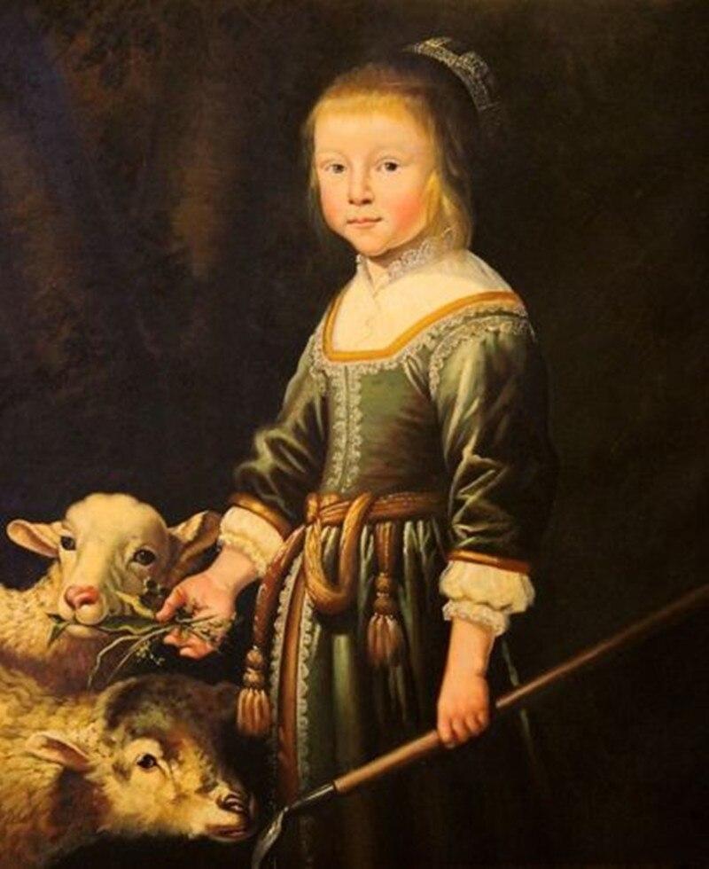 Qualité originale Figure classique toile peinture à l'huile pour décoration murale une petite fille et des moutons peints à la main de haute qualité