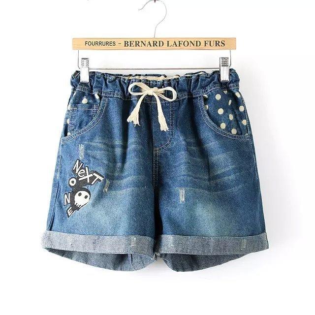 29f62d09748 Summer Women Fashion New Large Elastic Waist High Waist Retro Denim Shorts  Short Jeans