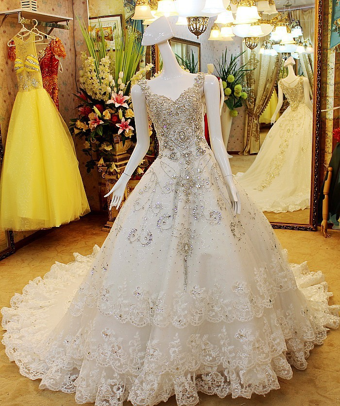 Real Photoes!! Luxury Import Crystal Diamond Ball Gown Long Train V ...