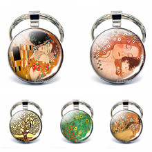 Famous Art Picture The Kiss Keychain Gustav Klimt Glass Cabochon Key Chain Rings Jewelry Gift For Women Men Lovers 2019 New(China)