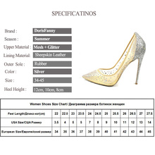 DorisFanny silver bling fashion design women's high heel pumps summer see through Party Wedding stiletto shoes 12cm thin heels