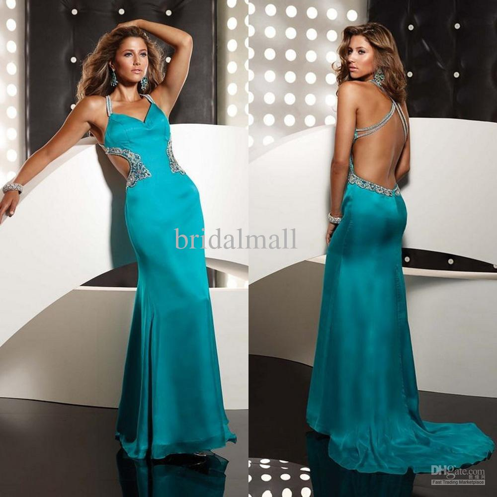 Chic turquoise blue backless beaded organza satin A line evening ...