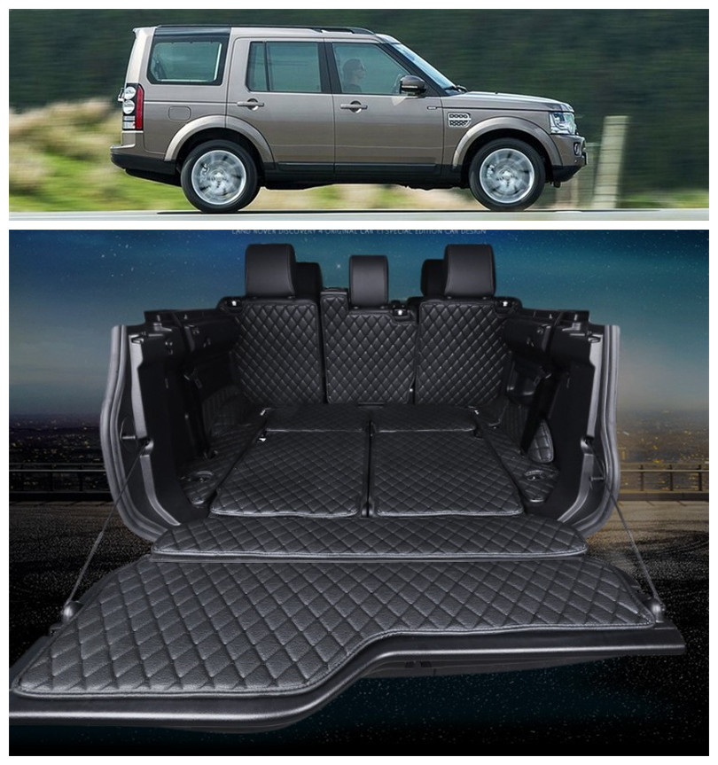 For Land Rover Discovery 4 LR4 2010-2016 Full Rear Trunk Tray Liner Cargo Mat Floor Protector Foot Pad Mats Embroidery Leather