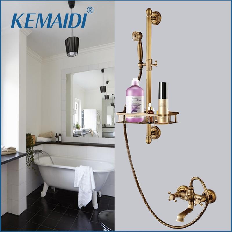 KEMAIDI Antique Brass Bathroom Wall Mounted Shower Head Valve Mixer Tap W/ Hand Shower Rainfall Shower Mixer Faucet Set