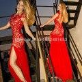 Ilusão Decote Em V Sereia Red Chiffon Side-slit Lace Vestidos de Baile 2016 Mangas Backless Vestido De Noite Formal Prom Vestidos