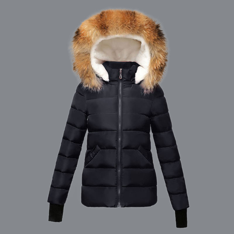 Real Fur Collar 2018 Fashion Wadded jacket Female Parkas Winter Coat New Slim Down cotton Coat Women Long sleeve Winter Jackets