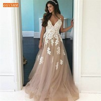 Elegant Lace Appliqued Top Prom Dresses Long 2019 Brown Tulle A Line Prom Dress Spaghetti Straps Customized Women Formal Gowns