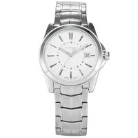 AGENTX Luxury Brand Watches Men Auto Date Display Silver Stainless Steel Strap Relogio Male Clock Business