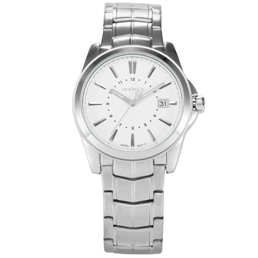 AGENTX Men Business Watch Curren Mens Watches Top Brand Luxury Silver Full Stainless Steel Quartz Wristwatch Relogio / AGX109