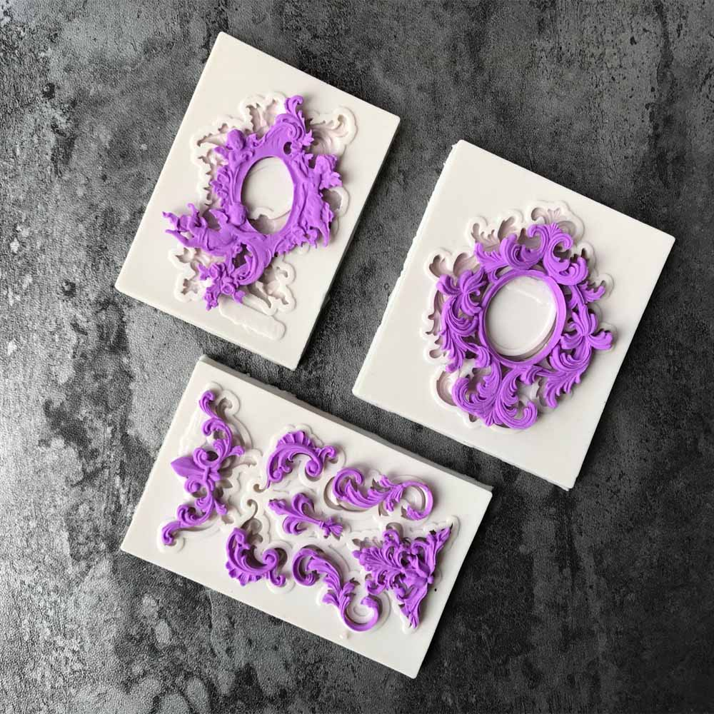 1PC Retro Frame Pendant DIY Silicone Mold Dried Flower Jewelry Accessories Tools Equipments Resin Molds