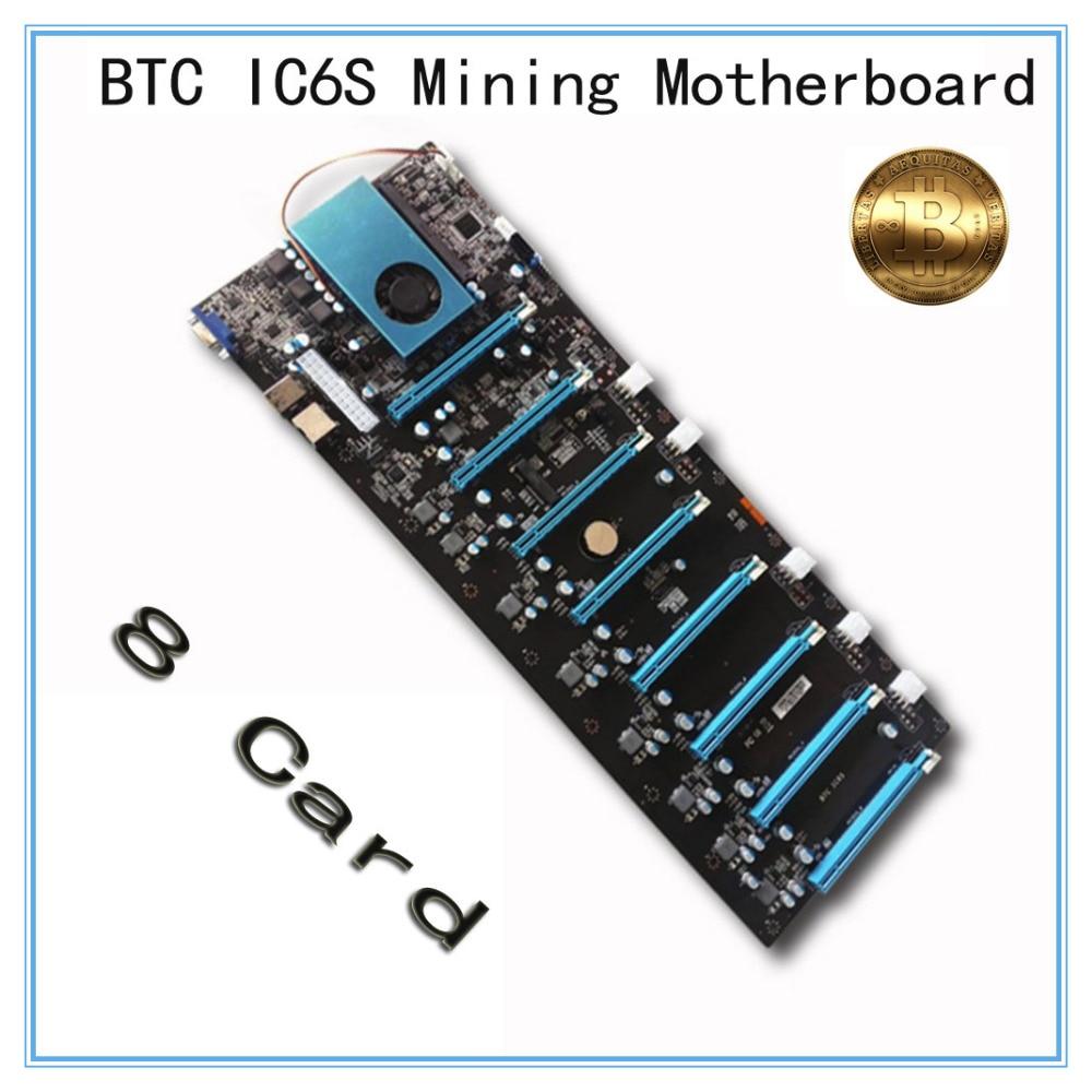 Mining Motherboard BTC IC6S  8 Graphics Cards Slots PCI Express 8 To 16x Slots DDR4 VGA USB2.0 SATA3.0  Mainboard