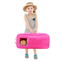 3 Items=1 Travel Case Suitcase Storage Bag +1 Dress+1 Hat Doll Accessories For 18 inch Doll Baby Girl 43cm Doll Travel Case Bag