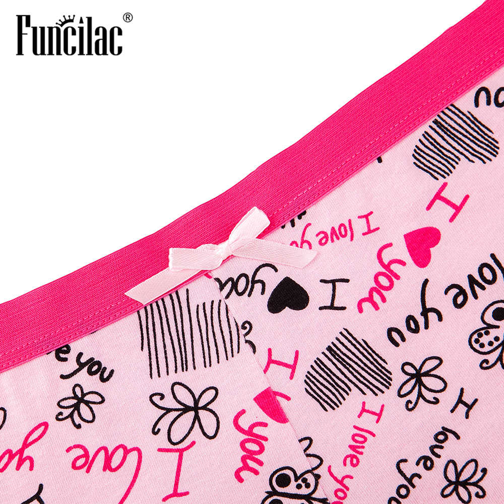FUNCILAC เซ็กซี่ผู้หญิงกางเกงผ้าฝ้าย Boyshort kawaii ชุดชั้นในลูกไม้ชุดชั้นในจดหมายผีเสื้อพิมพ์ 3 ชิ้น/เซ็ต