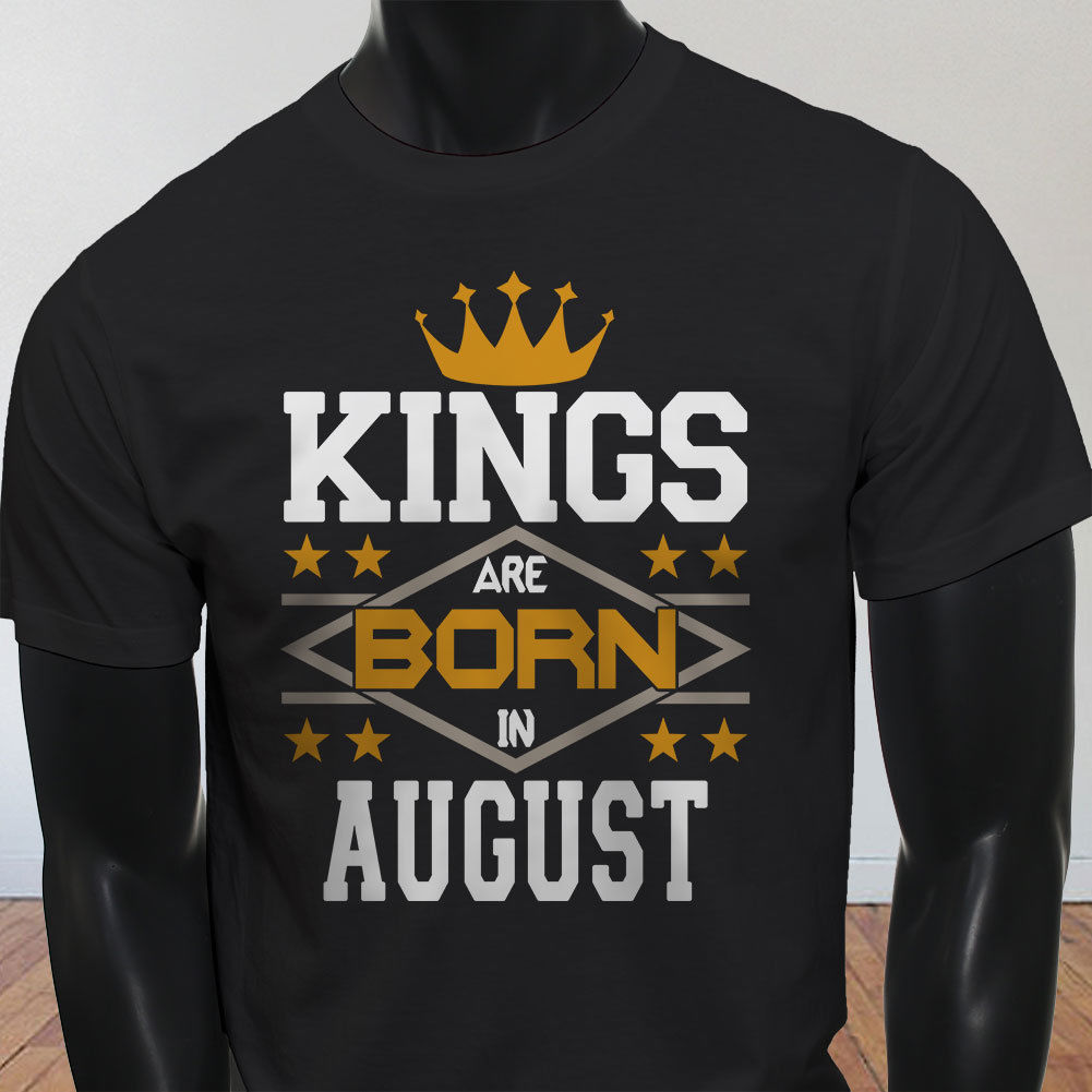 New Spring High-Elastic Cotton KINGS BORN IN AUGUST CROWN BIRTHDAY LEO VIRGO Mens Black T-Shirt Summer T-Shirt