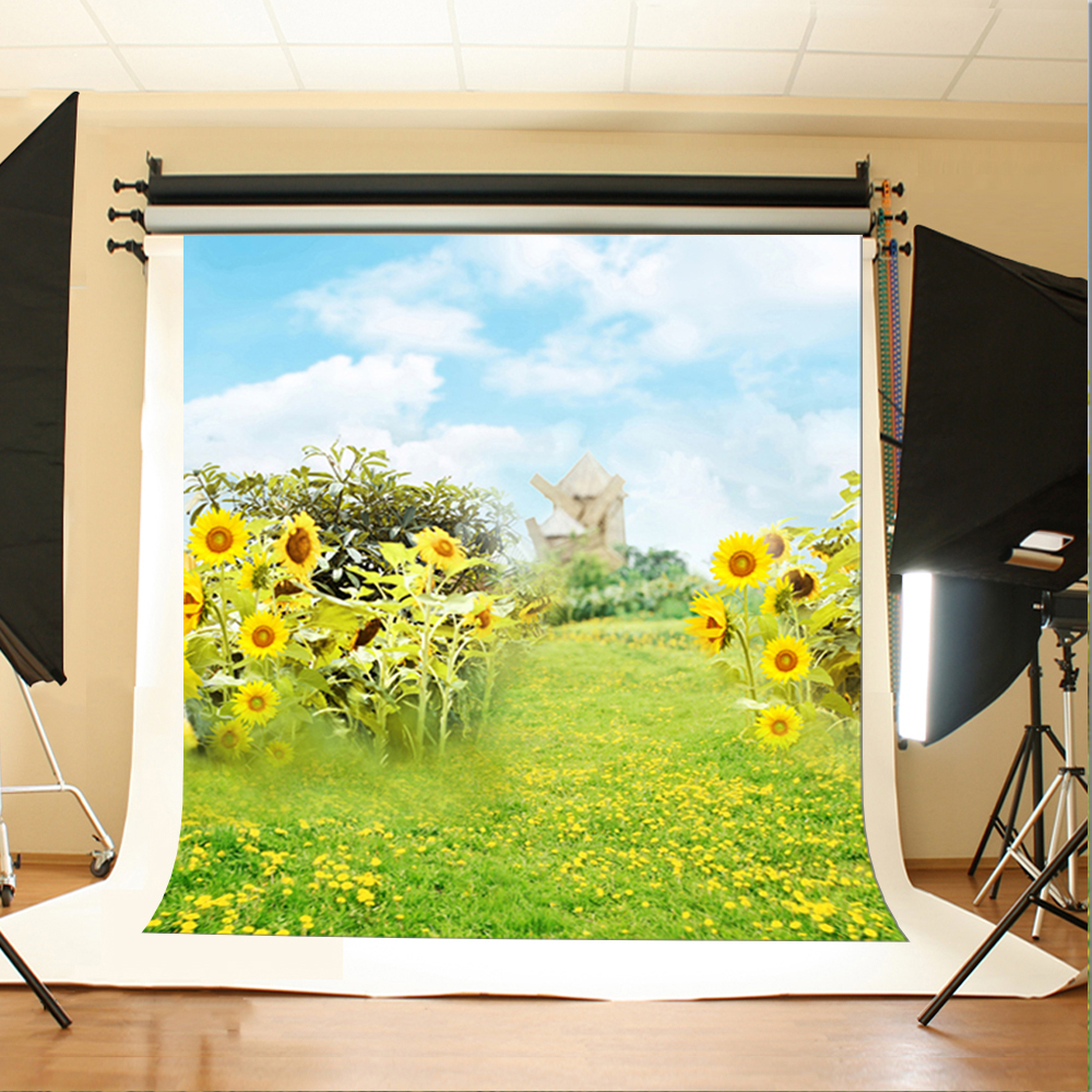 Wedding Photography Backdrops Blue Sky and White Clouds Party Photo Backdrops Sunflower Flowers and Meadow Fond Studio Photo 10 6 5feet 300 200cm photography backdrops vast blue sky and white clouds sofa free shipping