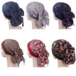 Image 1 - イスラム教徒の女性弾性プリントコットンターバン帽子スカーフ事前縛らがん化学ビーニー帽子ヘッドラップメッキヘアアクセサリー