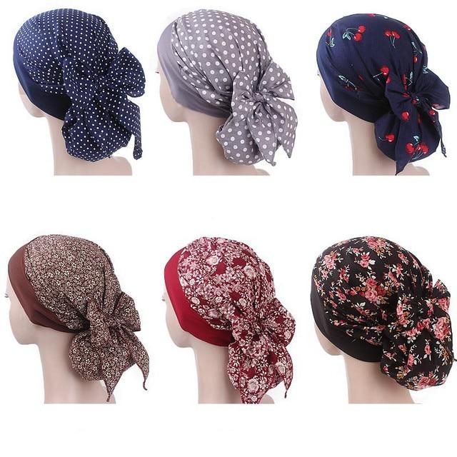 イスラム教徒の女性弾性プリントコットンターバン帽子スカーフ事前縛らがん化学ビーニー帽子ヘッドラップメッキヘアアクセサリー