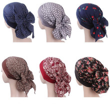 Muslim Women Elastic Print Cotton Turban Hat Scarves Pre Tied Cancer Chemo Beanies Headwear Head Wrap Plated Hair Accessories