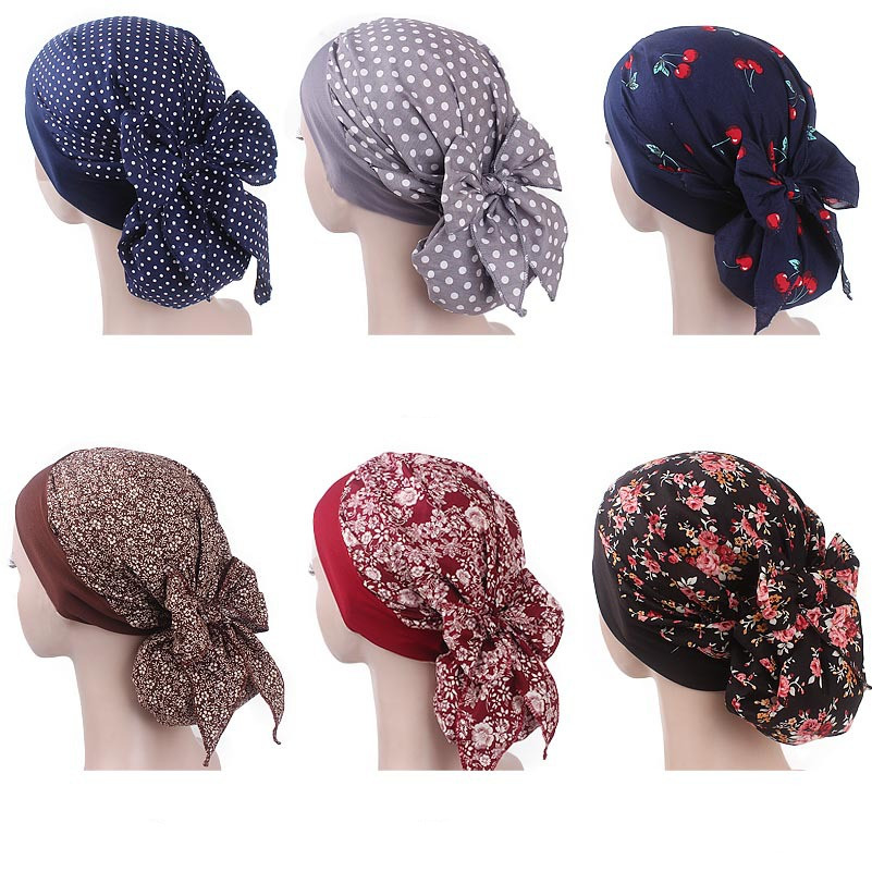 Muslim Women Elastic Print Cotton Turban Hat Scarves Pre-Tied Cancer Chemo Beanies   Headwear   Head Wrap Plated Hair Accessories