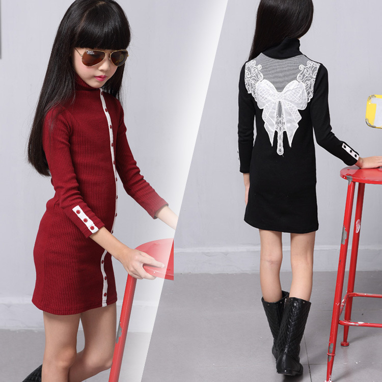 Spring Autumn Winter All match Girls Stripe Shirt Collar Buckle Hot Super Elastic Backing Dress Clothing